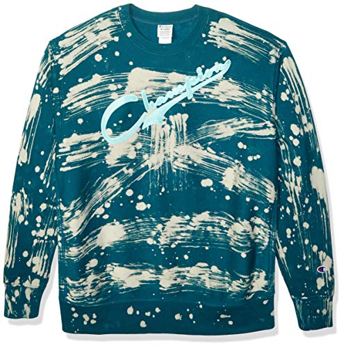 Champion Life Herren Custom Bleach Splatter Reverse Weave Sweatshirt, Jade mit Schmucksteinen, Medium