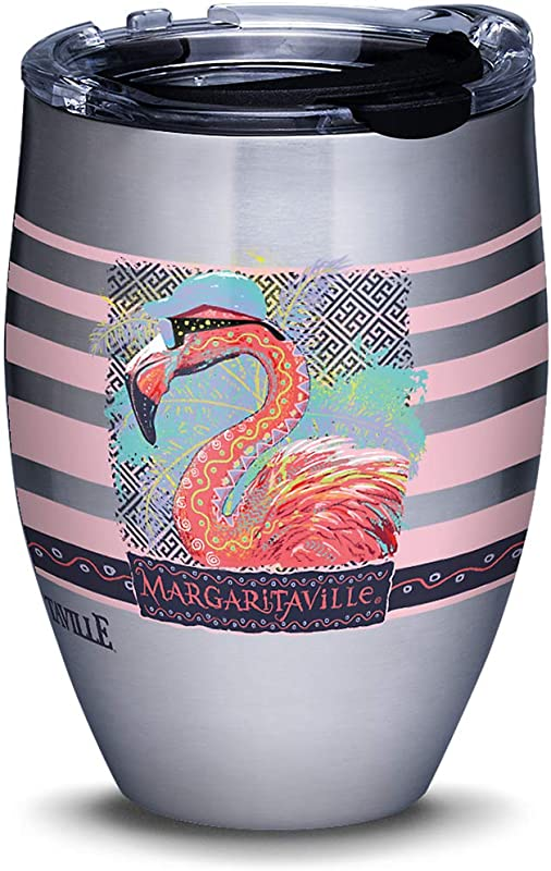 Tervis 1313053 Margaritaville Cool Flamingo Stainless Steel Insulated Tumbler With Clear And Black Hammer Lid 12 Oz Silver