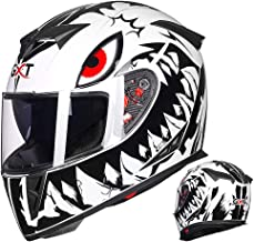 LALEO Personality Shark Graffiti Full Face Modular Motorcycle Helmet, All Seasons Breathable Keep Warm Adjustable Detachable for Youth Adults Men & Women DOT Approved M-XXL (54-62cm)