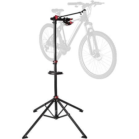 Socle de montage pour vélo stable Ultrasport, pour les travaux de réparations sur tous les modèles de vélos, fixation Quicklock qui n'abime pas la peinture, porte-outils magnétique, max 30kg