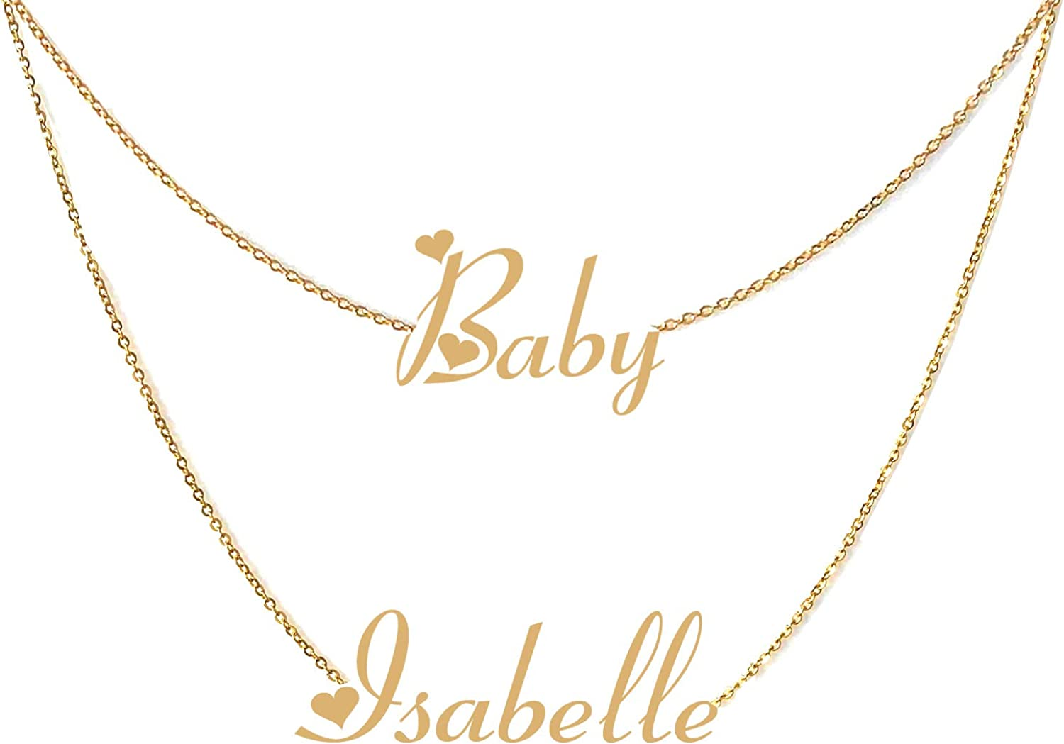 GR859C Personalized Custom Name Necklace Layered Choker Necklaces for Women