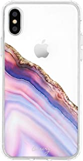 Casery Case Designed for The iPhone, Pink & Blue Agate (Exotic Marble) - Military Grade Protection - Drop Tested - Protective Slim Clear Case for Apple iPhone XR