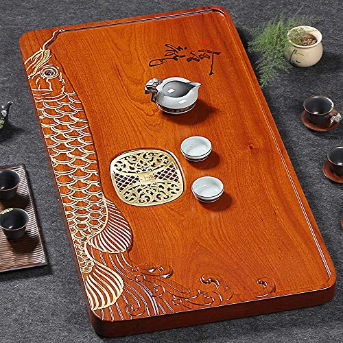 Buy Discount GongFu Tea Serving Tray Luxury Wooden Tea Serving Tray Chinese Creative Goldfish Carved...