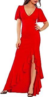Toocool - Vestito Donna Abito Lungo Spacco Ruches Elegante Cerimonia Sexy JL-20472