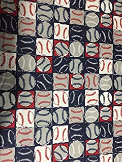 Country Snuggles Baseball Fabric by The Yard (1/2 Yard)