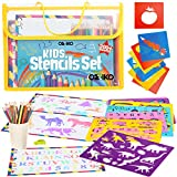Drawing Stencils for Kids. Arts and Crafts Kit for Kids Ages 4-8. Art Supplies Drawing and Coloring Gift Set for Boys and Girls with Alphabet, Letter, Numbers, Animal and Dinosaur Stencil Shapes