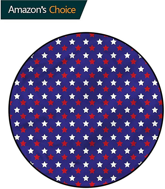 RUGSMAT USA Washable Creative Modern Round Rug Federal Holiday Design Non Slip Soft Floor Mat Home Decor Diameter 24