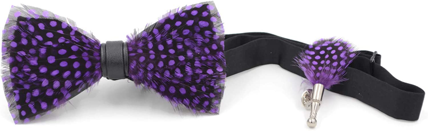 Black and Purple Feather Bow Tie and feather Lapel pin with Wooden Box