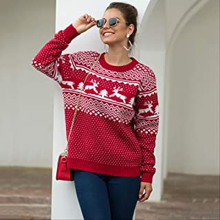 AHJSN Autumn And Winter New Christmas Sweater Female Round Neck Long Sleeve Pullover Deer Sweater