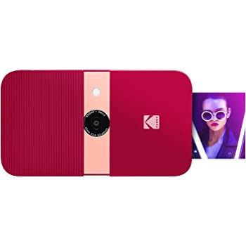 KODAK Smile Instant Print Digital Camera – Slide-Open 10MP Camera w/2x3 ZINK Printer (Red) Sticker Edition.