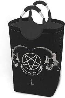 Liumt Panier à Linge Sombre Horreur Gothique Occulte Satan Penta Symbole crâne Panier à Linge Panier Seau Pliable vêtement...