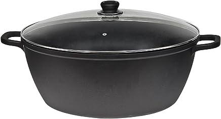 Cacerola de hierro fundido, olla sopera de 44cm, en negro 44 cm