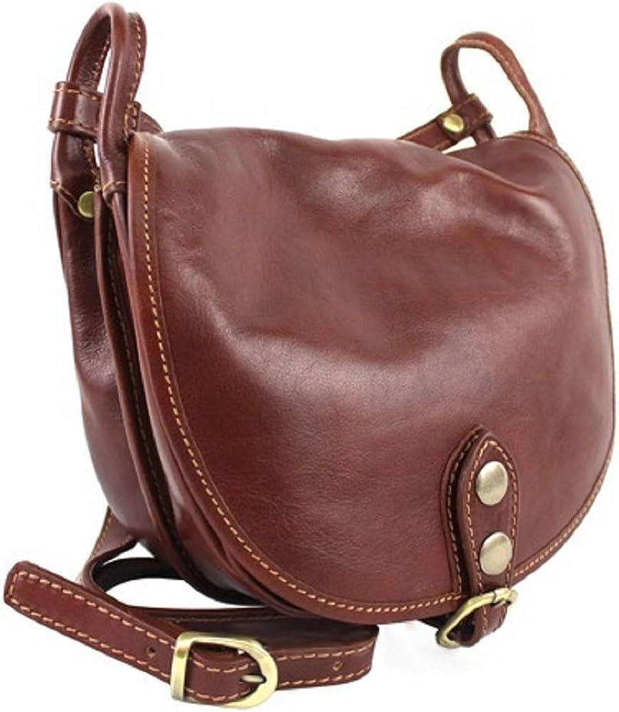 Bottega carele, borsa da donna a tracolla, in vera pelle,  made in italy, marrone BC905B