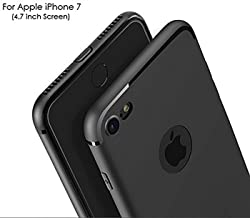 WOW Imagine Soft Silicone All Sides Protection 360 Degree Anti Dust Plugs Shockproof Slim Back Cover for Apple iPhone 7 (Pitch Black)