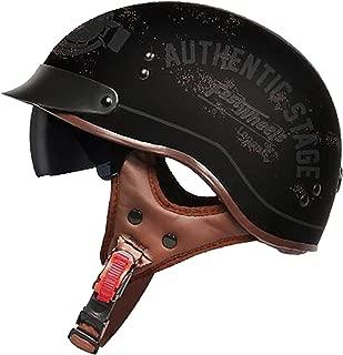 Youth Department Peas Motorcycle Half Helmet Retro Adult Helmet Motorcycle Harley Half Helmet DOT Certification Men and Women Domineering Style Bicycle Scooter Travel Street Half Helmet,M