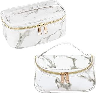 SUBANG 2 Pack Marble Makeup Bags Toiletry Bag Travel Bag Portable Cosmetic Bag Makeup Brushes Bag Waterproof Organizer Bag for Women Girls Men