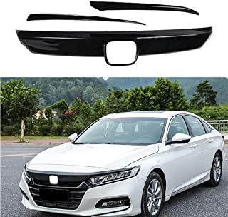 MotorFansClub Front Grille Cover Moulding Trim for Honda Accord 2018 2019 ABS Glossy Black Lip Bumper, 3PCS