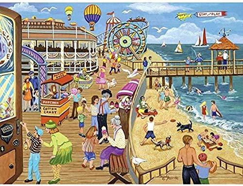 Wooden Jigsaw Puzzle 1000 Pieces,funny Puzzles For Adults Games Landscape Poster Ice Cream On The Boardwalk Nature Landscape Art Picture 1000 Piece Jigsaw Puzzle