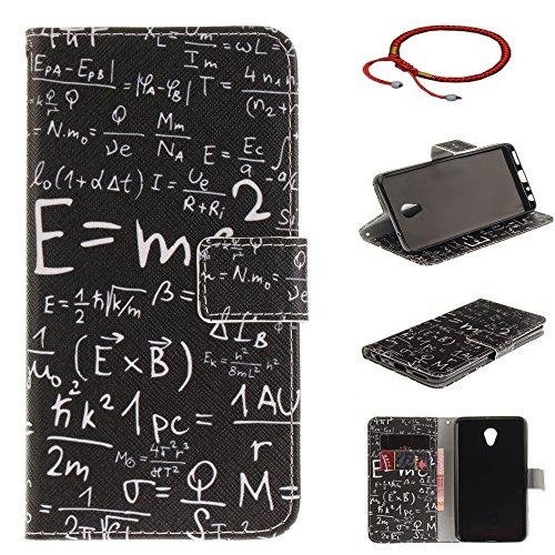 GOCDLJ Schutzhülle für Meizu M5 Note PU Leder Flip Cover Tasche Ledertasche Handytasche Hülle Handyhülle Hülle Etui Schale Wallet Ständerfunktion Shell Design Mathematische Formel