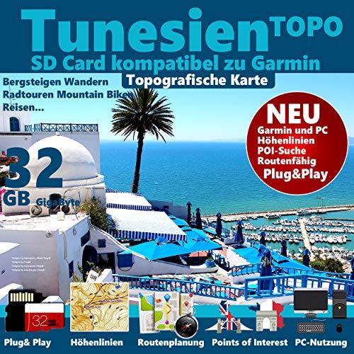 Preisvergleich Produktbild Tunesien Tnis Garmin Karte Outdoor Topo GPS Karte microSD Card für Garmin Navi,  PC & MAC für Garmin Navigationsgeräte Navigationssoftware 2019