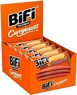 Bifi BiFi Currywurst – 20er Pack 20 x 50 g – Herzhafter Salami Fleischsnack mit Currysauce – Pikant gewürzte Wurst im Weizenbrötchen als Snack to go