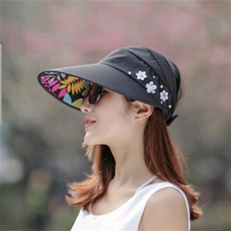 UIOP 2PCS Women Summer Sun Hats Pearl Packable Sun Visor Hat with Big Heads Wide Brim Beach Hat UV Protection Cap Female 729 (Color : Black)