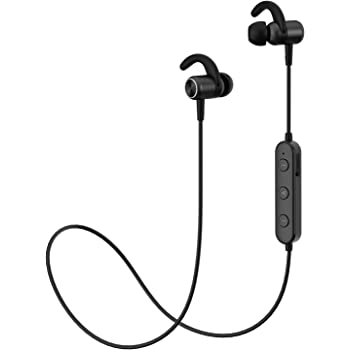 Sports Bluetooth Headphones w/Mic, Richer Bass HiFi Stereo in-Ear Wireless Earphones, Waterproof IPX5, Magnetic, Noise Cancelling, 6 Hrs Playback Earbuds for Sports, Gym, Running, Workout (Black)
