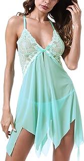 DishyKooker Women Sexy Underwear Set Sling Deep V See-Through Lingerie Dress Temptation Nightdress + Panties