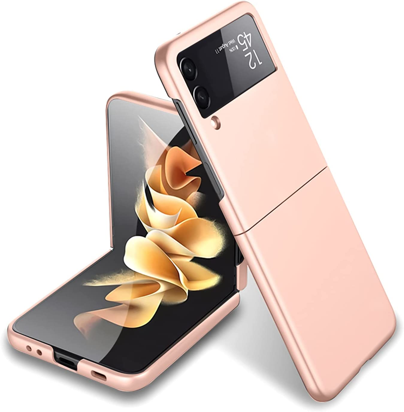 MZELQ Compatible with Samsung Galaxy Z Flip 3 5G Case Shockproof PC Hard Cover for Girls Women -Pink