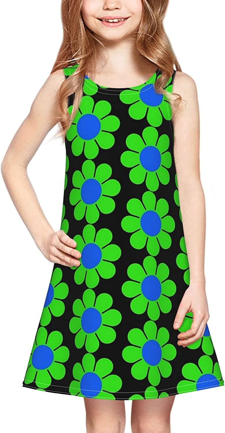 brillianting Round Neck A-Line Girls Print Sleeveless Dress Casual Party 2-6 Years Old