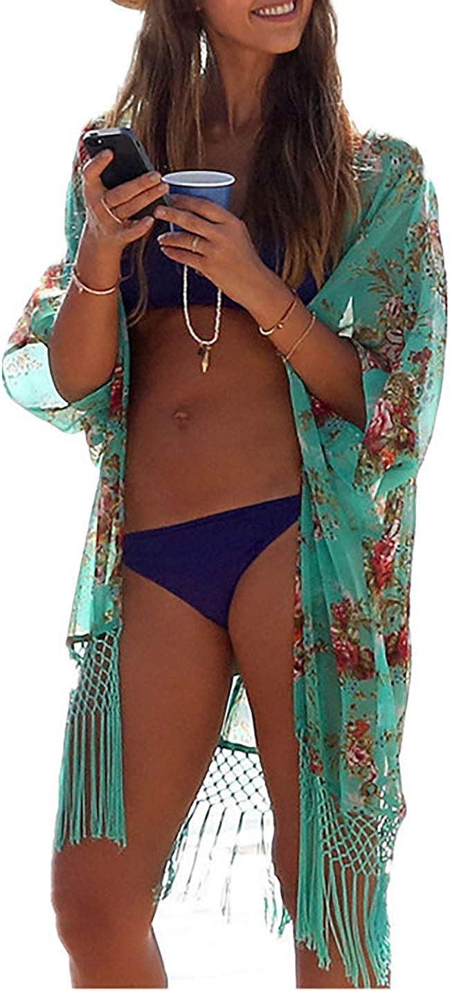 AILUNSNIKA Loose Short Kimono Cardigan Beachwear Cover Up Half Sleeve Summer Sunscreen