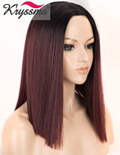 K'ryssma 99j Bob Wig with Black Roots Ombre Synthetic Wig Burgundy Short Bob Wigs for Women Heat Resistant Middle Parting