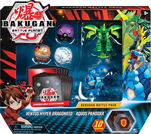 Bakugan 6058572 - Battle Pack mit 5 Bakugan (Ultra Aquos Pandoxx, Ultra Ventus Evo Dragonoid, Basic Haos Cyndeous, Basic Darkus Cubbo, Basic Aurelus Phaedrus)