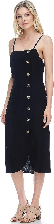 Alexander + David A+D Womens Sexy Side Buttons Spaghetti Strap Linen Midi Dress