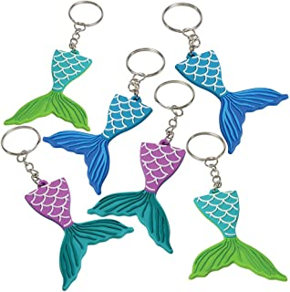 ArtCreativity Mermaid Tail Rubber Keychains, Pack of 12, Mermaid Party Favors, Birthday Party Supplies, Goodie Bag Filler...