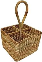 Lcjtaifu Storage Basket Cestas Hechas a Mano 100 Mimbre orgánico sin pelar de Mimbre Completo Hecho a Mano Cesta de Almacenamiento de Registro de Sauce Redondo de Dos Tonos