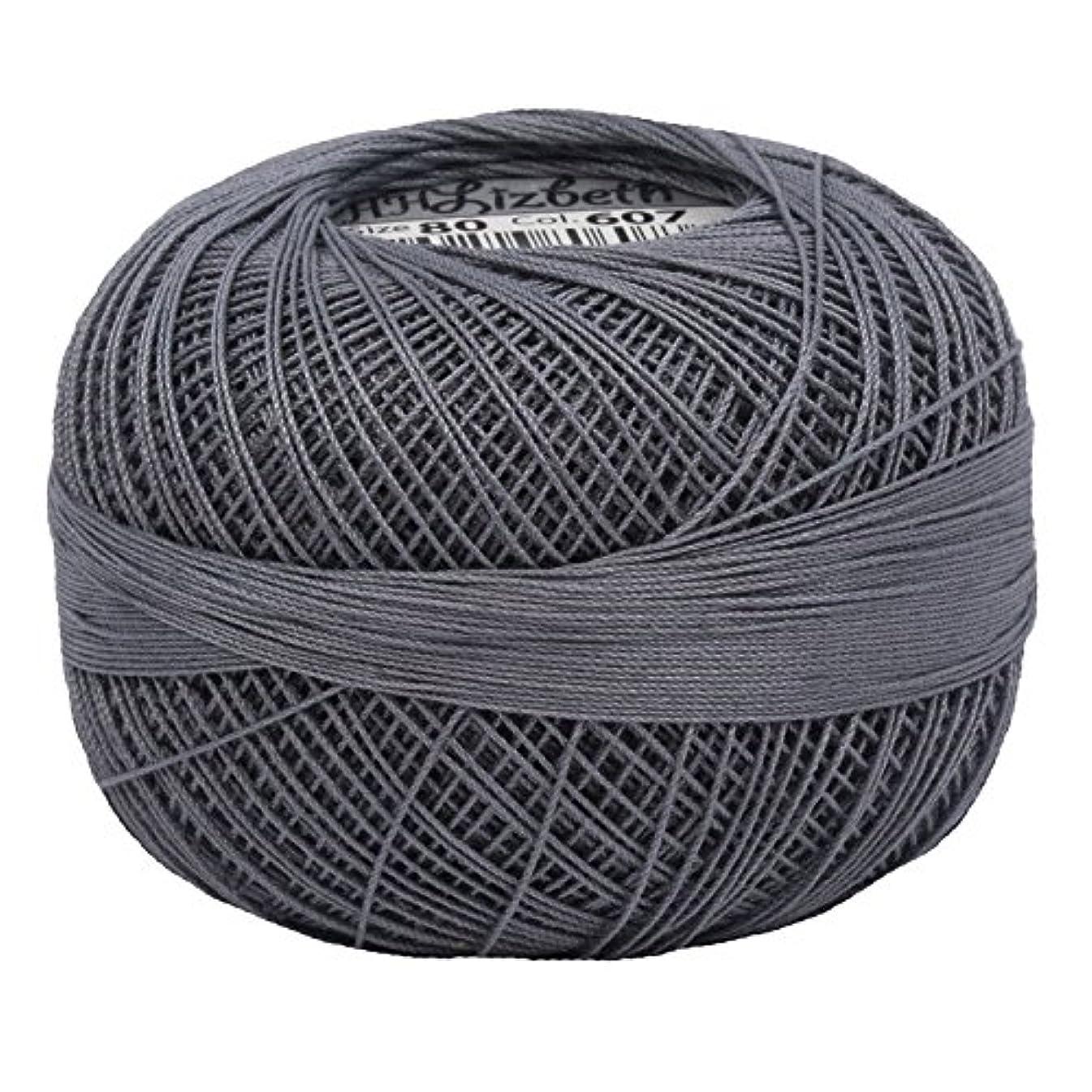 Lizbeth Size 80 HH80 Lizbeth Cotton Thread 184 yds 10 Grams, Charcoal Medium