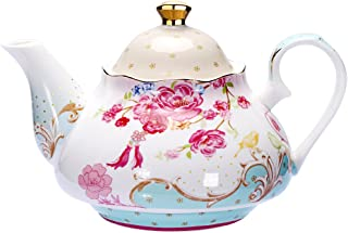 Tea Pot Bone China Floral Design Vintage Teapot Loose Tea Women and Tea lovers 850 ml about 4 Cups Gift Box