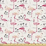 Ambesonne Flamingo Fabric by The Yard, Flamingos in Vintage Style Illustration Love and Romantic Animals Artwork Print, Decorative Fabric for Upholstery and Home Accents, 1 Yard, Beige Pink