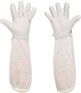 Luwint Premium Goatskin Beekeeping Gloves, Bee Beekeeper Gloves with 3 Layers Ventilated Mesh Sleeve and Elastic Cuffs for Beekeeping Gardening (Medium)