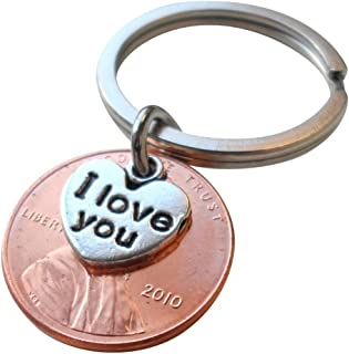 I Love You Heart Charm Layered Over 2010 Penny Keychain, 9 year Anniversary Gift, Birthday Gift, Couples Keychain