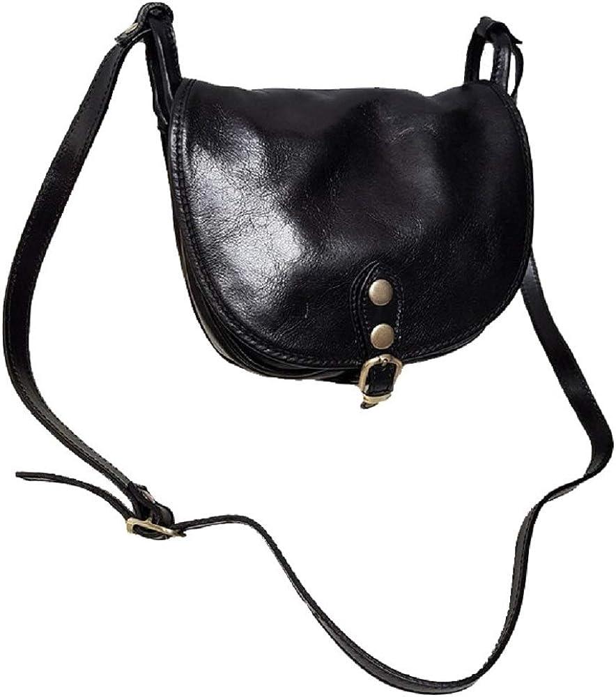 Bottega carele, borsa da donna a tracolla, in vera pelle, made in italy, nera BC905C
