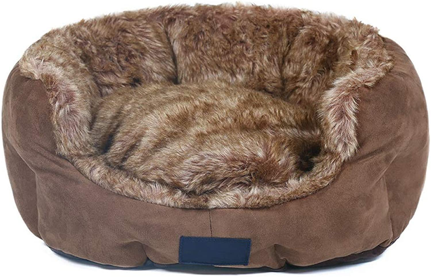 Alppq Coffee Tricolor Fur +Plush Kennel Four Seasons Universal Puppy House Detachable And Washable Small Dog Sofa Cat Nest Pet Bed Easy To Clean Bed Bolster Pet Cave Comfort Cat Dog Bed4540  18cm