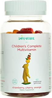Simply Natural Kids and Toddler Gummy Multivitamins(Non-GMO, Vegetarian), Vitamin D3, C, B12, B6, E, A, Zinc, Biotin, Folic Acid, Iodine, Niacin, Inositol, Choline, 60 Gummies (30 Day Supply)