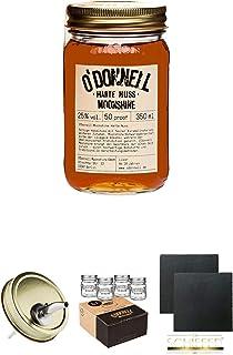 ODonnell Harte Nuss 25% 0,35 Liter Halbe  ODonnell Ausgiesser 1 Stück  ODonnell Mason Trinkglas/Jar 4 Stück Shotgläser  Schiefer Glasuntersetzer eckig ca. 9,5 cm Durchmesser 2 Stück