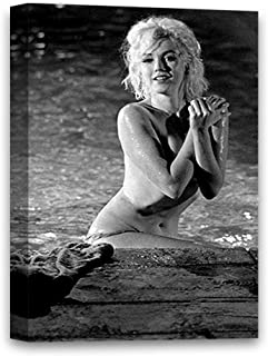 Funny Ugly Christmas Sweater Naked Marilyn Monroe Canvas Sea Print Art Marilyn Monroe Black and White Printed Decor for Home 8