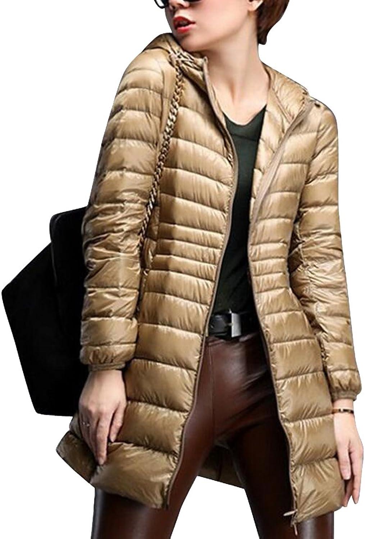 OberoraWomen Winter Lightweight Long Hoodie Down Puffer Coat Jacket Outwear