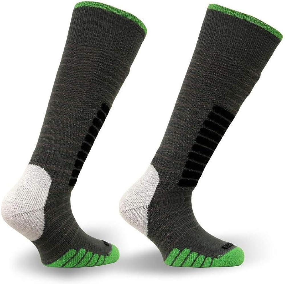 Eurosock Ski Supreme Junior Ski Socks, Gray/Green, 3X-Small