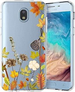 Unov Galaxy J7 2018 Case Clear with Design Slim Protective Soft TPU Bumper Embossed Pattern Cover for Galaxy J7 Crown J7 Refine J7 Star J7 V J7V 2nd Gen J7 Aero J737V(Leaves Lyrics)