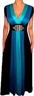 Plus Size Women Blue Black Empire Waist A Line Block Long Maxi New Dress